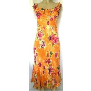 Ralph Lauren Silk Floral Dress Midi Orange Pink 12